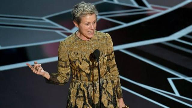 No palco do Oscar, Frances McDormand pediu apoio pela política do Inclusion Rider. Foto: Kevin Winter/Divulgação