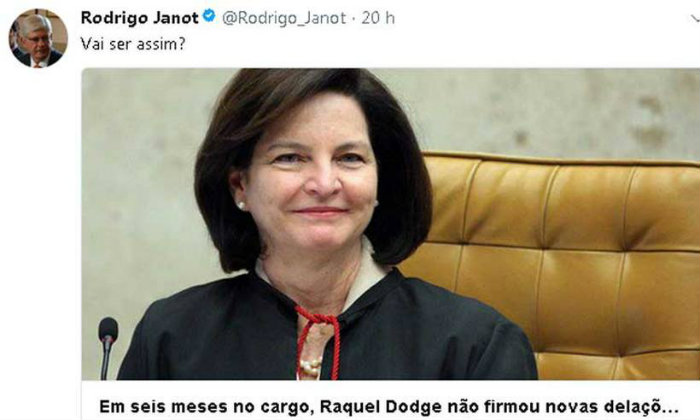Janot deixou o cargo de procurador-geral em setembro do ano passado.  Foto: Twitter/Reprodução (Foto: Twitter/Reprodução)
