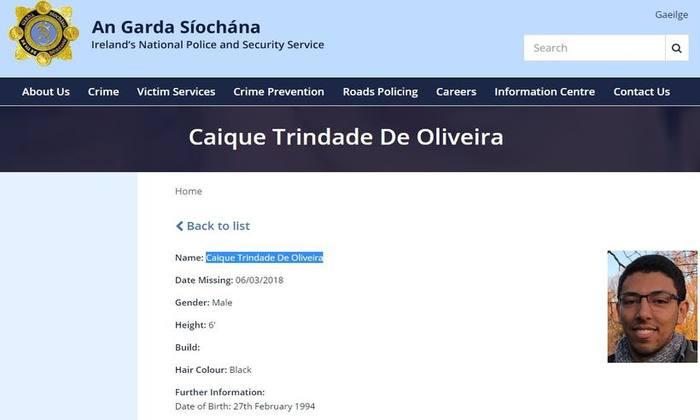 A guarda irlandesa está ajudando a procurar o jovem brasileiro. Foto: Reprodução Internet