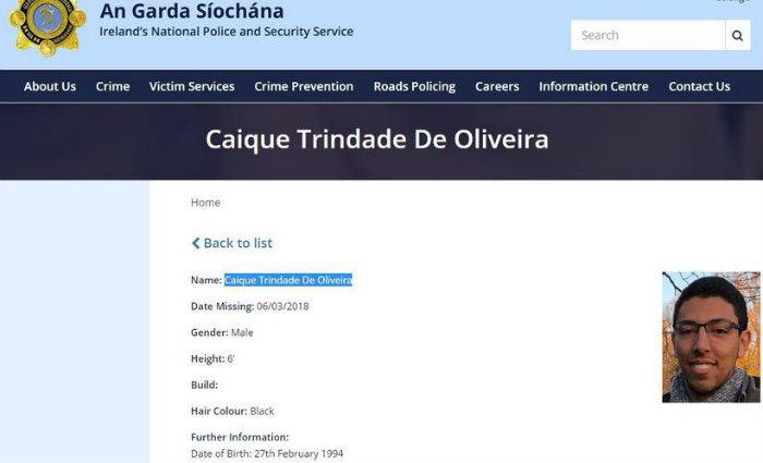 A guarda irlandesa está ajudando a procurar o jovem brasileiro. Foto: Reprodução Internet (Foto: Reprodução Internet)