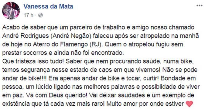 Vanessa da Mata demonstrou todo o seu pesar pela morte do músico (foto: Facebook/Reprodução)