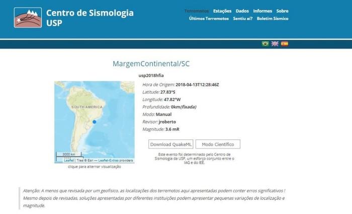 O epicentro foi registrado a 100 quilômetros da costa de Florianópolis, no fundo do mar. Foto: USP/Reprodução