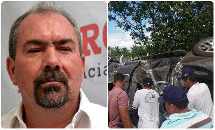 À esquerda, o prefeito Romonilson. À direita, um registro do acidente feito pelo rota 190. Foto cortesia/divulgação whatsapp