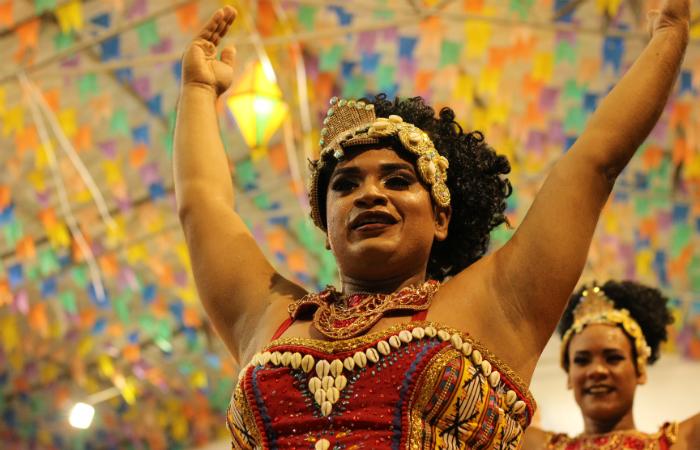 A Junina Evolução, de Santo Amaro, trouxe a força e a representação dos povos africanos na construção da identidade brasileira. Foto: Samuel Calado/Esp.DP