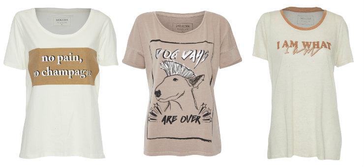 T-shirts da Shoulder são versáteis e tem mood divertido, com frases e motivos estampados. Fotos: Shoulder/Divulgação