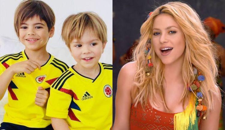 Resultado de imagem para Shakira posta foto dos dois filhos com camisa da Colômbia