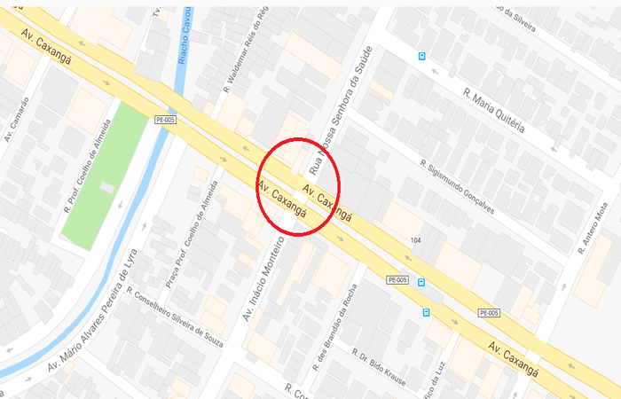 De acordo com a CTTU, manifestantes estão concentrados no cruzamento da Caxangá com a Inácio Monteiro. Foto: Reprodução/Google Maps