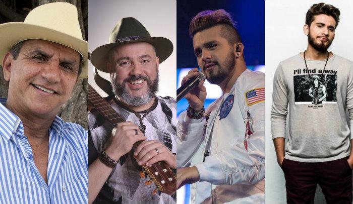 Petrúcio Amorim, Geraldinho Lins, Luan Santa e Gustavo Mioto são atrações dos festejos juninos em Pernambuco. Foto: Facebook/Reprodução
