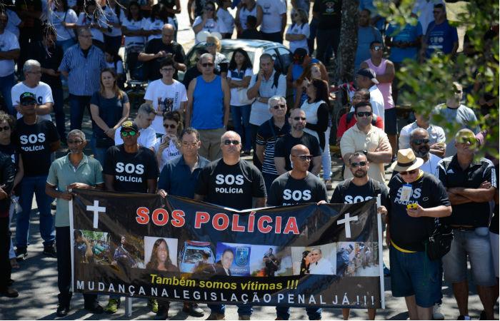 Protesto contra a morte de PMs no Rio em 2017 Foto: Fernando Frazão / Agência Brasil