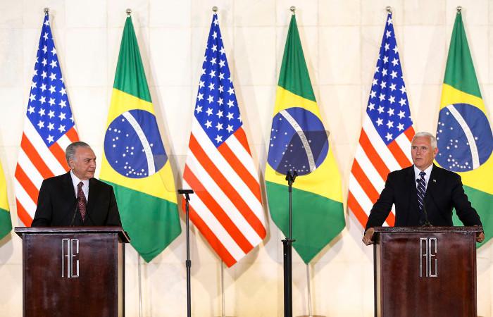 Pence está no Brasil desde o início da manhã desta terça-feira. Foto: Marcelo Camargo/Agência Brasil