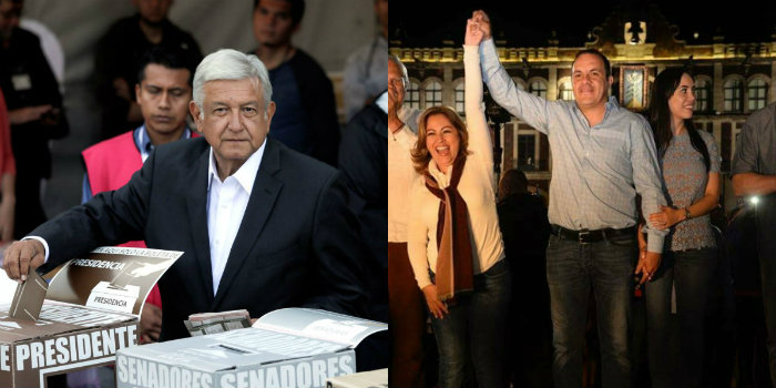 Andrés Manuel López Obrador (e) venceu eleições para presidente e Cuauhtémoc Blanco, ex-meia da seleção, conseguiu se eleger governador. Foto: Agência Brasil/Facebook