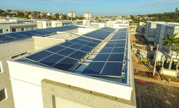 Construtora está adotando a instalação de painéis fotovoltaicos para gerar energia solar para áreas comuns. Foto: MRV/Divulgação