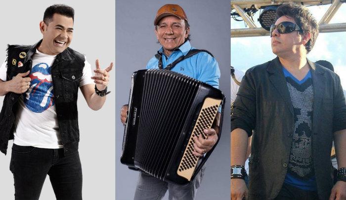 Os vocalistas Batista Lima (ex-Limão com Mel), Neto Leite (líder da Mastruz com Leite) e Daniel Diau (Calcinha Preta). Foto: Reprodução/Facebook