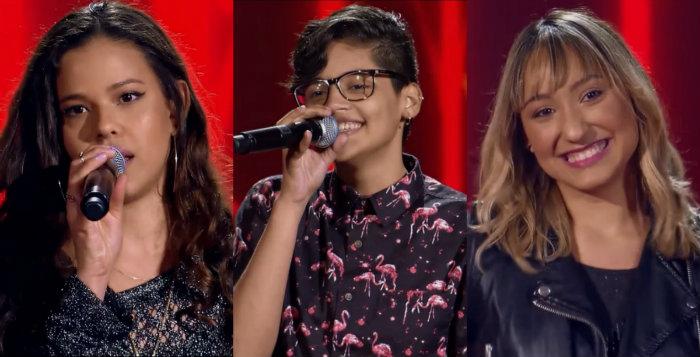 Erica Natuza, Thay Silva e Ally se apresentaram na estreia do The Voice. Foto: Globo/Reprodução