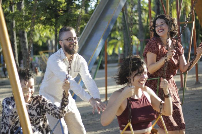 O elenco formado por Gustavo Soares, Isabelle Barros, Micheli Arantes e Natali Assunção. Crédito: Nataly Barreto/Divulgação