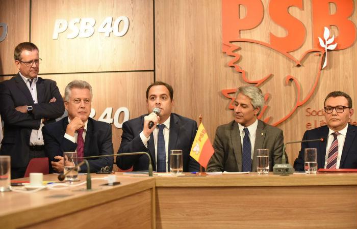 Paulo Câmara faz pronunciamento no diretório nacional do PSB Foto: Humberto Padrera / Divulgação