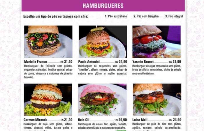 No cardápio, todos os sanduíches levam nomes de mulheres que se destacam pelo ativismo junto aos animais ou outras causas. Foto: Reprodução/ Vegens 2 Go