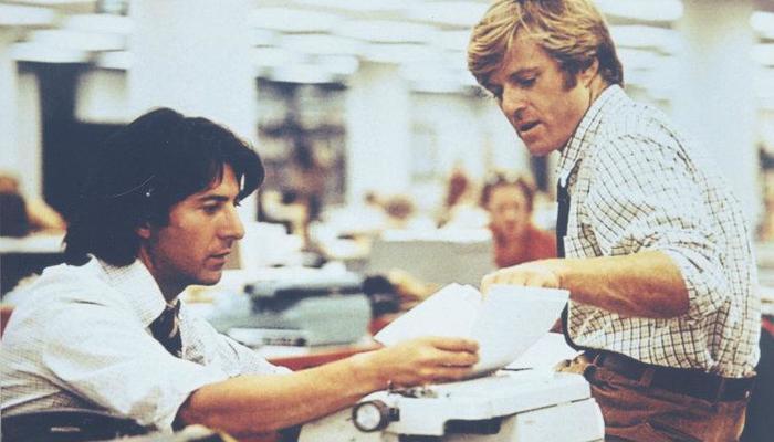 Com Dustin Hoffman em Todos os homens do presidente. Foto: Reprodução