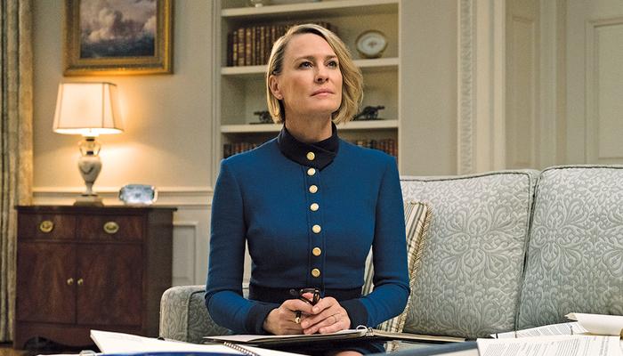 Claire Underwood, personagem de Robin Wright, se tornou presidente dos Estados Unidos na quinta temporada. Foto: Divulgação/Netflix
