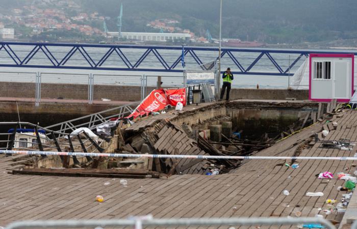 Uma plataforma caiu durante um festival de música na cidade de Vigo, noroeste da Espanha. Foto: Carmelo Alen / AFP