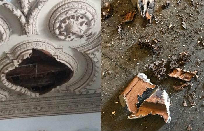 Pedaços das peças desabaram no último domingo. Imagens: Divulgação