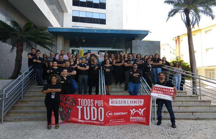 Ato público realizado nesta quinta (23) em frente à agência do Banco do Brasil, na Avenida Rio Branco. Foto: Divulgação