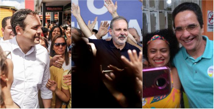 Paulo Câmara, Armando Monteiro e Mauricio Rands. Fotos: Divulgação
