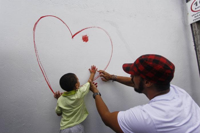 Mural marcou o lançamento da campanha do centro. Foto: Thalyta Tavares/Esp.DP