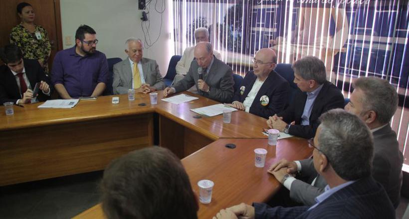 O candidato do MDB falou para empresários da Associação Comercial do DF: promessa de empregos. Foto: Bárbara Cabral/Esp.CB/D.A Press