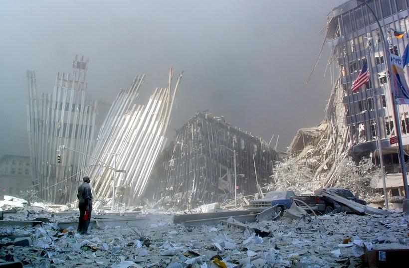 Destroços do World Trade Center, atacado em 11 de setembro de 2001. Foto: DOUG KANTER / AFP FILES / AFP