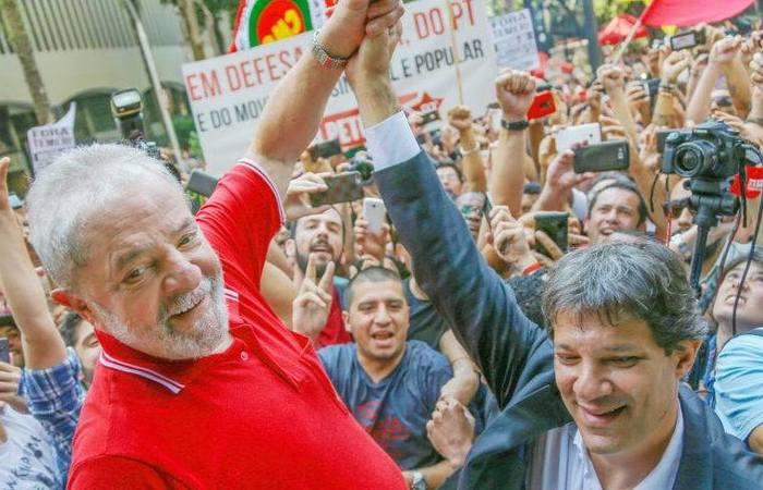 Pela manhã, Haddad esteve com o ex-presidente. Foto: Ricardo Stuckert/ AGPT