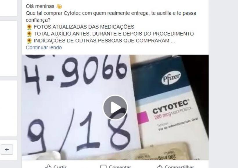 No Facebook, proliferam ofertas do medicamento abortivo Cytotec. Foto: Facebook/Reprodução