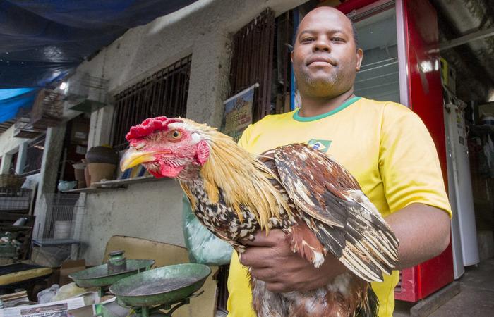 Samuel da Silva, o Buiú, vende bichos vivos e abatidos há quase tinta anos. Foto: Leo Malafaia/Esp.DP