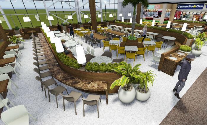 Praça de alimentação foi modernizada com um  investimento de R$ 1,9 milhão. Foto: Divulgação/Plaza (Foto: Divulgação/Plaza)