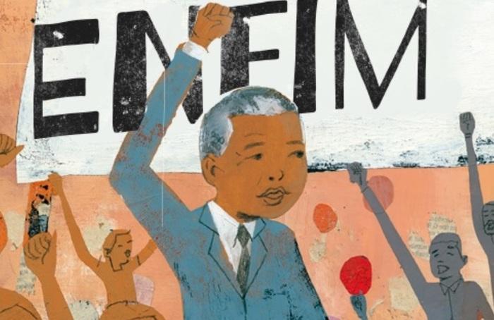 Livro aborda diversos períodos da vida de Nelson Mandela, como a infância e libertação da prisão. Imagem: V&R Editora/Divulgação