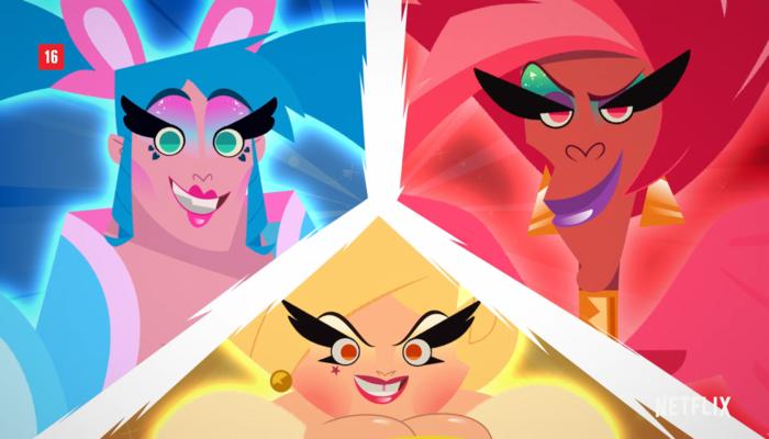 Alguns nomes conhecidos do universo drag farão terão suas vozes na animação. Foto: Reprodução/Netflix