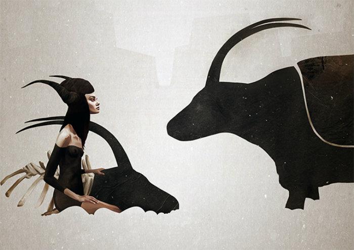 A nova exposição do ilustrador europeu tem como destaques personagens mágicos. Crédito: Ruben Ireland/Divulgação
