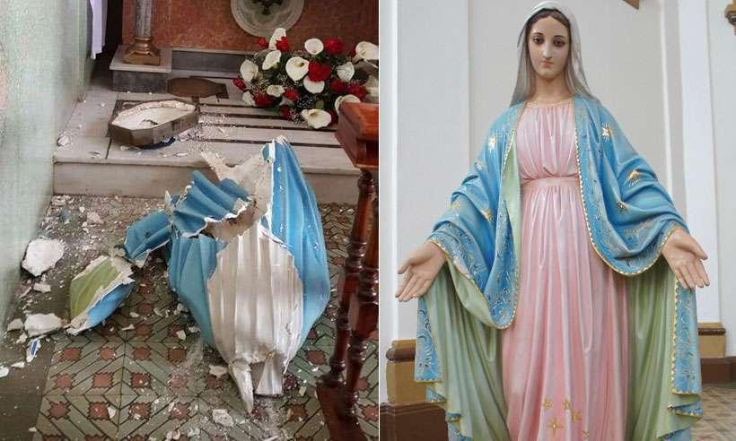 Imagem de Nossa Senhora das Graças ficou em cacos ao ser puxada por um jovem que entrou na Igreja de São Sebastião, em Conselheiro Lafaiete. Foto: Reprodução da internet/Facebook