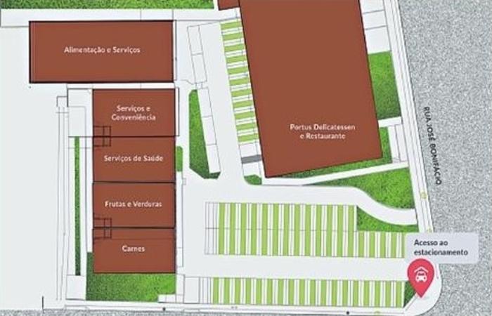 Planta mostra como será a disposição das lojas, que terá a Portus como âncora. Foto: Reprodução