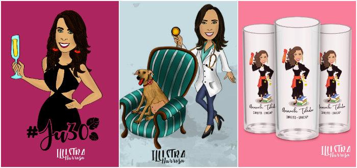 A bibliotecária e comunicadora visual Ana Rosa da Silva cria caricaturas para formaturas, aniversários e casamentos. Foto: Divulgação