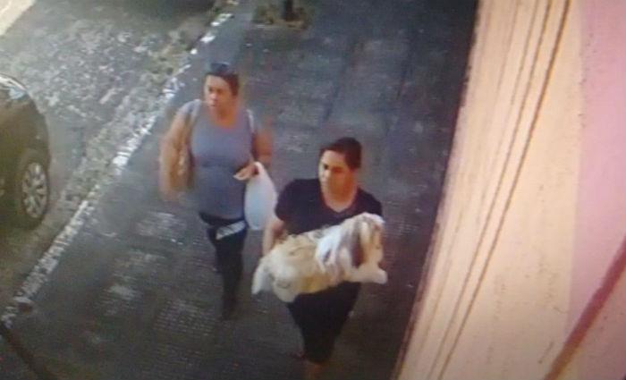 Câmeras de segurança filmaram duas mulheres caminhando com o animal nos braços. Foto: Divulgacao