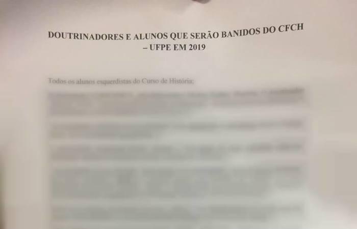"""Lista ameaça banir professores e alunos """"esquerdistas"""" do Centro Filosofia e Ciências Humanas (CFCH) - Foto: Reprodução"""