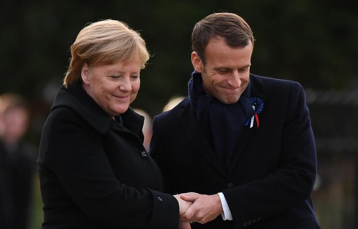 Cerimônia foi realizada no local onde foi assinado o armistício. Foto: Alain Jocard / AFP
