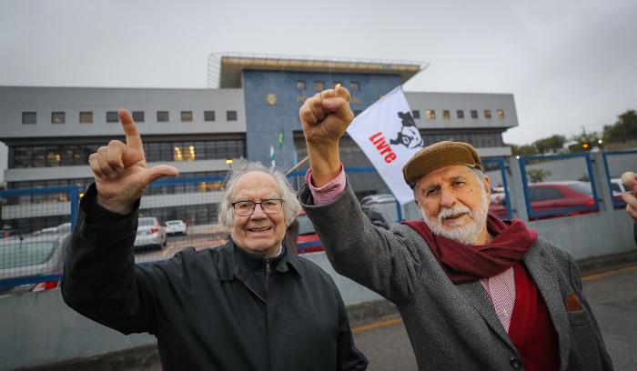 O Prêmio Nobel da Paz Adolfo Pérez Esquivel e o diplomata Celso Amorim, ex-ministro da Defesa e Relações Exteriores. Foto: Ricardo Stuckert (Foto: Ricardo Stuckert)