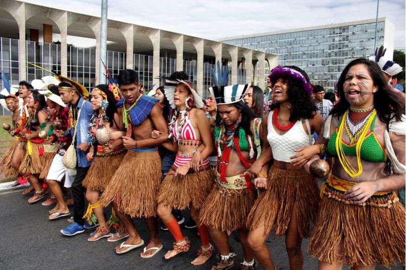 Protesto de indígenas em Brasília: preocupação com a política de demarcação de terras no governo Bolsonaro. Foto: Marília Lima/Esp.CB/D.A Press