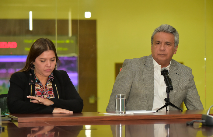 A vice-presidente do Equador, María Alejandra Vicuña e o presidente Lenín Moreno. Foto: Rodrigo Buendia/AFP
