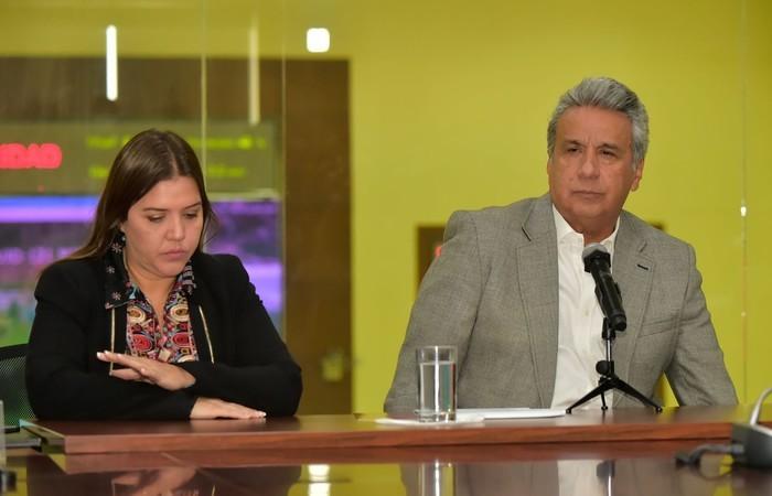 O presidente do Equador, Lenín Moreno, e a vice-presidente, María Alejandra Vicuña, em foto de 13 de abril. Foto: Rodrigo Buendia/AFP