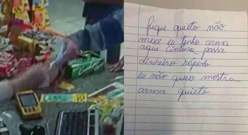 Imagem da câmara de segurança e o bilhete usado na tentativa de assalto. Foto: Reprodução