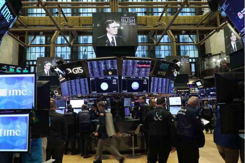 Em Nova York, principais indicadores da bolsa terminaram a sessão de negócios no campo negativo. Foto: Spencer Platt/Getty/AFP