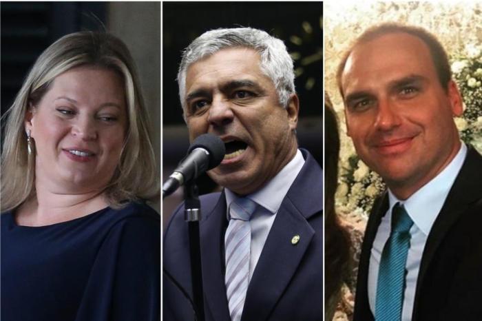 Hasselmann, Olímpio e Eduardo Bolsonaro discutiram no aplicativo de envio de mensagens. Fotos: José Cruz/Agência Brasil, Ananda Borges/Câmara dos Deputados e Reprodução/Instagram